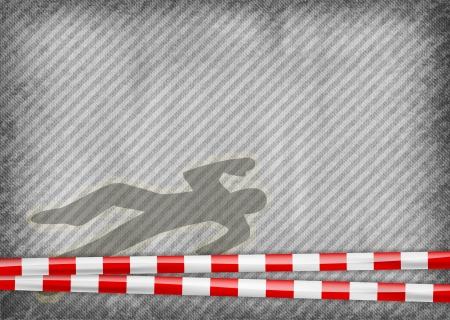 murder scene: cinta de la polic�a con la silueta del asesinato