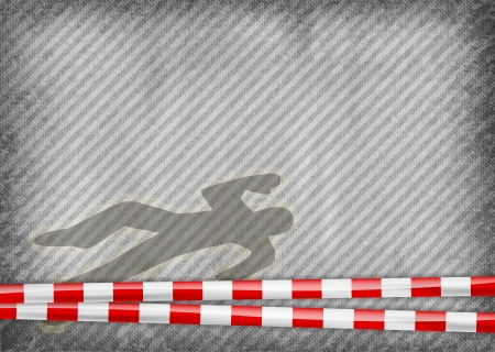 homicide: police tape with murder silhouette