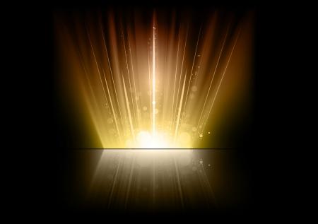 llamaradas de oro en el espacio oscuro