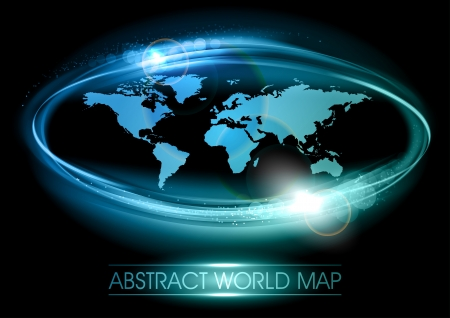 abstract world map on the black background Vector