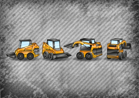 excavating machine: four small excavators on the grey texture