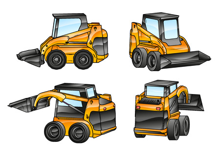 small isolated excavators in the four angles Vector