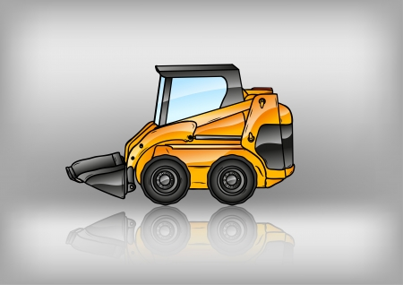 dredge to dig: small excavator reflect on the grey background Illustration