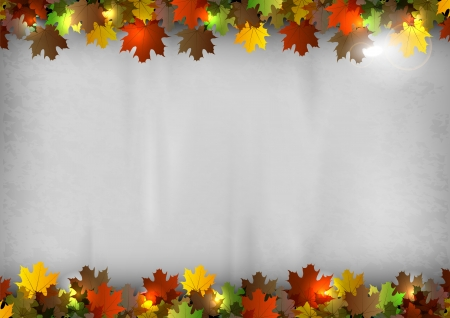 fall leaves border: autumn background - leaves on the gray texture