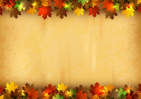 fall leaves border: autumn background - leaves on the old paper texture