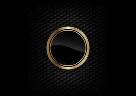 goud ronde op de donkere achtergrond Stock Illustratie