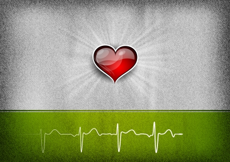 heart monitor: heart on the grey background with green cardio curve