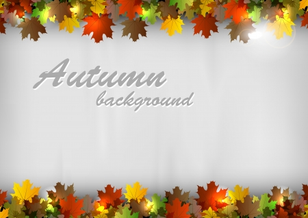 autumn background - leaves on the gray texture
