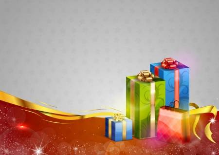 christmas gift box: gifts on the red and grey christmas background