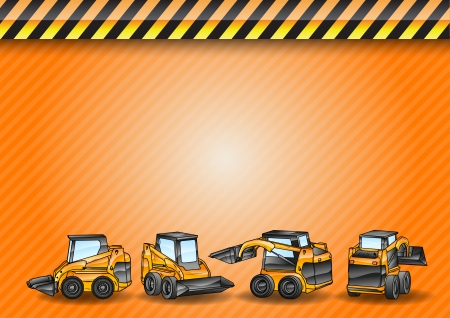 dredge to dig: four small excavators on the construction background Illustration