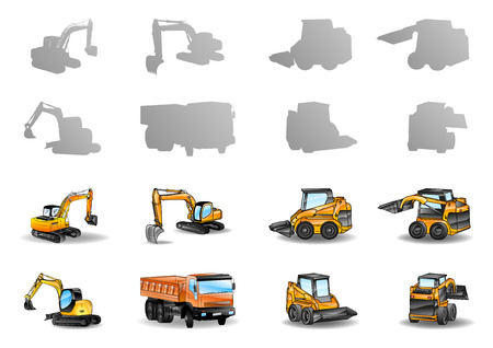 set of construction vehicles - vector illustration Иллюстрация