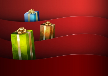 gifting: christmas background with gifts - vector image Illustration