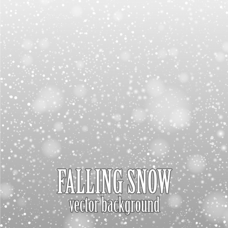 the snow: falling snow on the gray - vector image Illustration