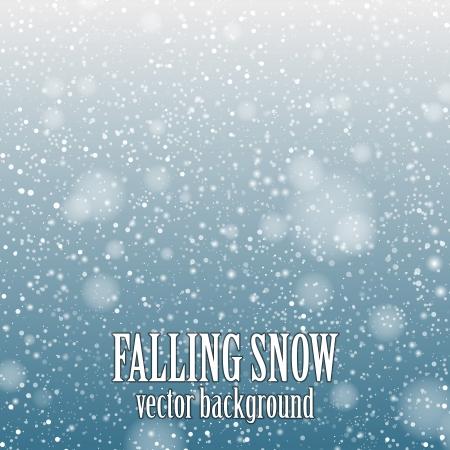 青い背景 - ベクター画像に降る雪