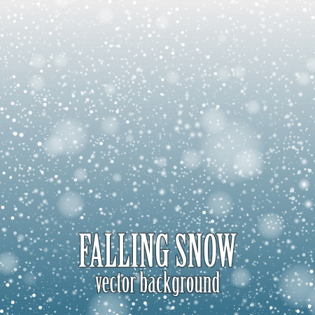 snowing: falling snow on the blue background - vector image