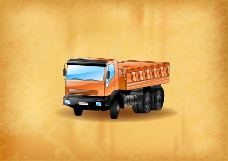 dump: truck on the old background Illustration