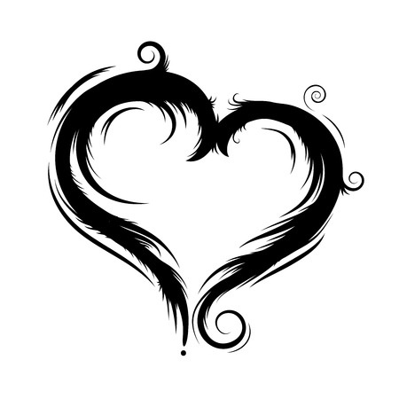 black vector heart isolated on the white