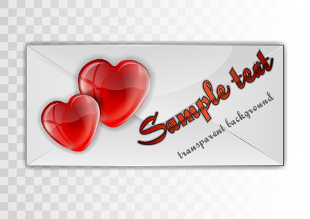 two hearts on the white envelope - fully editable vector format Vector