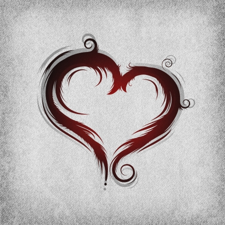 red baroque heart on the grunge background