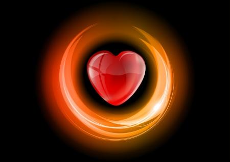 heart in the neon light Vector