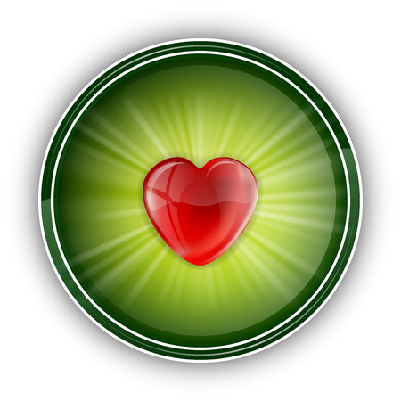 red heart in the center of green round Vector