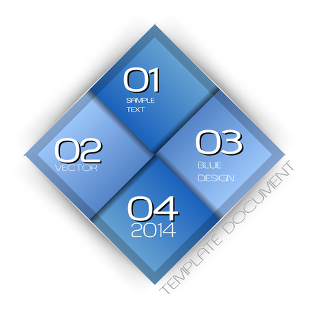 rhomb: Modern business layout. Blue vector template with sample text. Illustration