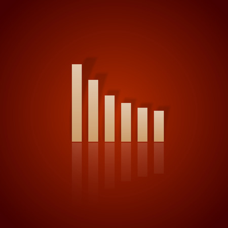 business symbol: Red graph down. Vector business symbol without text.
