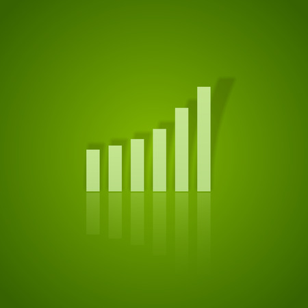 business symbol: Green graph up. Vector business symbol without text. Illustration