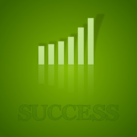 business symbol: Green graph up. Vector business symbol with text.