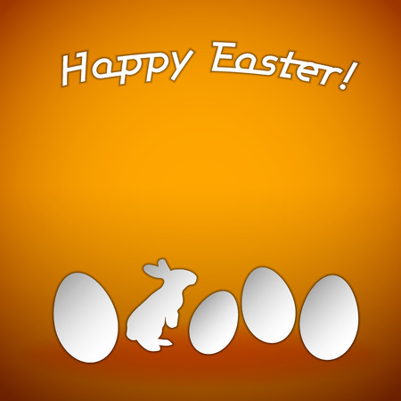 Easter background. Orange space with white silhouette of eggs and bunny. Vector