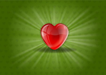 Red heart shining on the green background Vector
