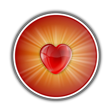 Red heart in the center of shining round. Vector symbol. Vector