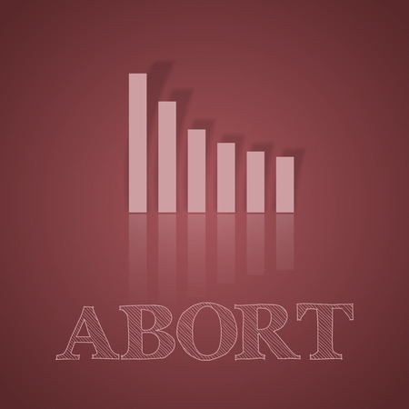 abort: Dark pink graph down. Illustration business symbol with text. Illustration