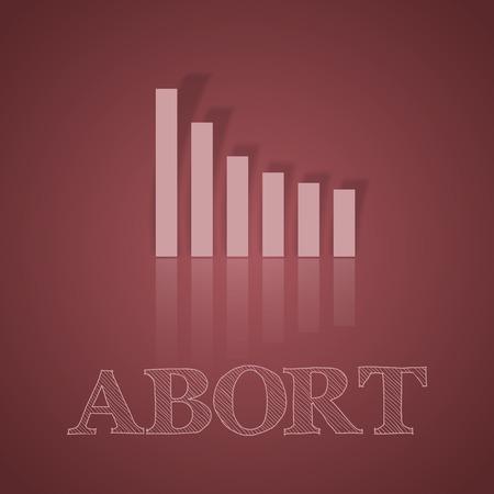 business symbol: Dark pink graph down. Illustration business symbol with text. Illustration
