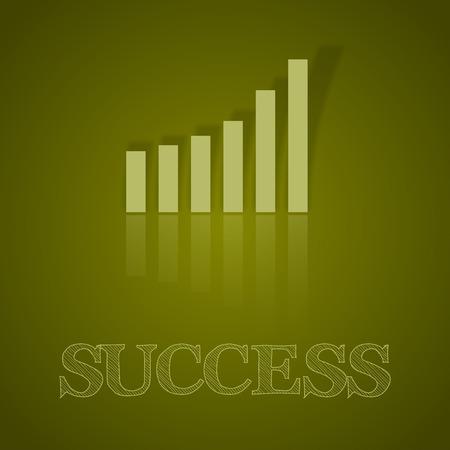business symbol: Green graph up. Illustration business symbol with text. Illustration