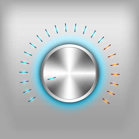 volume glow light: Volume button - music knob. Vector metal texture - chrome.