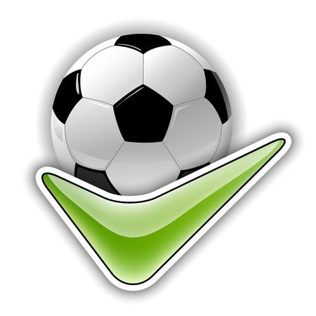 ok symbol: Simbolo Soccer. Calcio con il simbolo verde OK.
