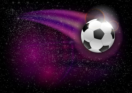 spaceflight: Soccer symbol. Football flying on the abstract universe. Illustration