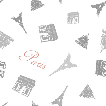 coeur: Seamless texture with the monuments of Paris.