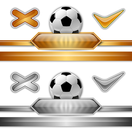 score table: Soccer symbol. Football with gold and silver button for score information. Illustration