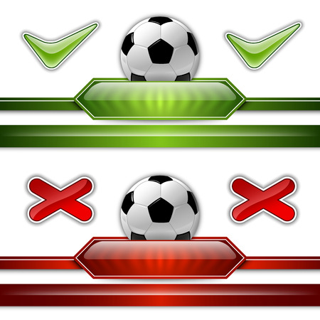 Soccer symbol. Football with green button for score information.