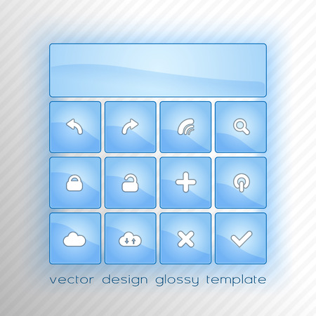 Blue glossy buttons as modern template for smartphone and web. Vector