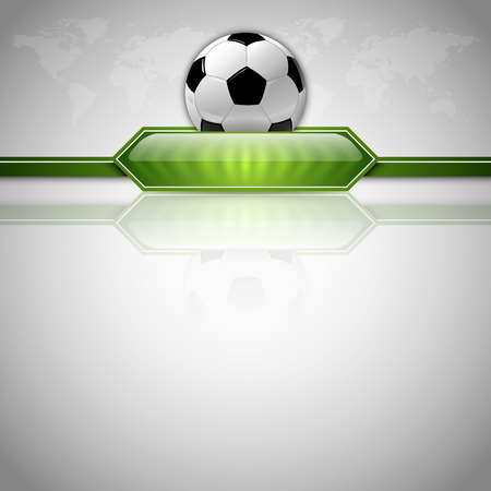 world cup: Soccer symbol. Football with green button for score information. Gray background with world symbol.