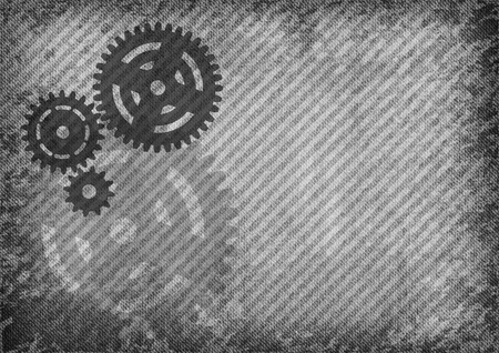 Three cogwheels on the gray grain texture. Vector