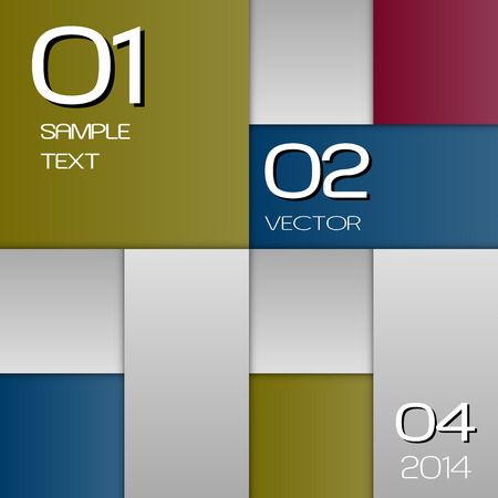 vector sample: Colour and gray squares as vector layout. Version with sample text.