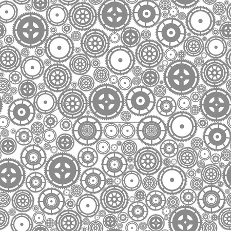 gearwheel: Gray cogwheels on the white background. Vector seamless pattern. Illustration