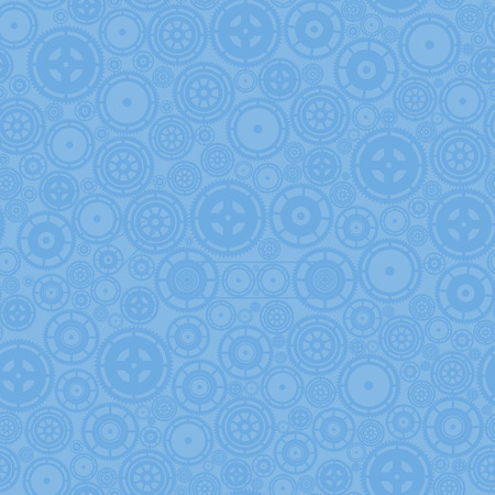 Blue cogwheels on the background. Vector seamless pattern. Vector