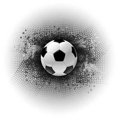 Soccer symbol. Football on the grungy background. Vector abstract texture.