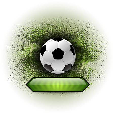 Soccer symbol. Football on the grungy background. Vector