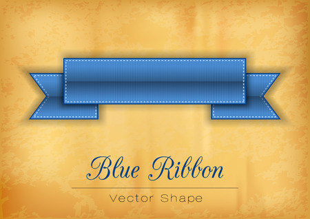 old paper background: Blue ribbon on the old paper background. Vector shapes.